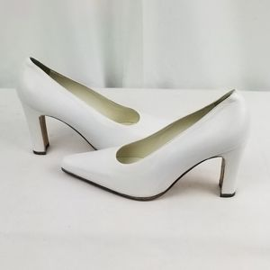 Alba White Leather Chunky Heels Pumps US size 6.5